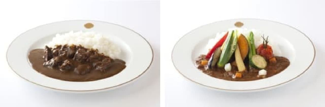 伝統のカレーソースで煮込んだ「飛騨牛の煮込みカリーライス」(左)  カレーソースにトマトを加えた「夏野菜カリーライス」(右)