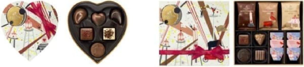 「キューブプラリネ ハートボックス」(左)、  「キューブプラリネ チョコレート&クッキー アソートメント」(右)
