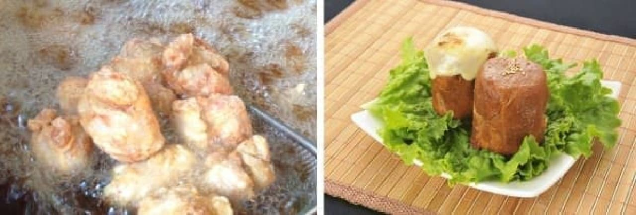 「肥後丸乃屋の塩からあげ」(左)  「本家宮崎肉巻きおにぎり」(右)