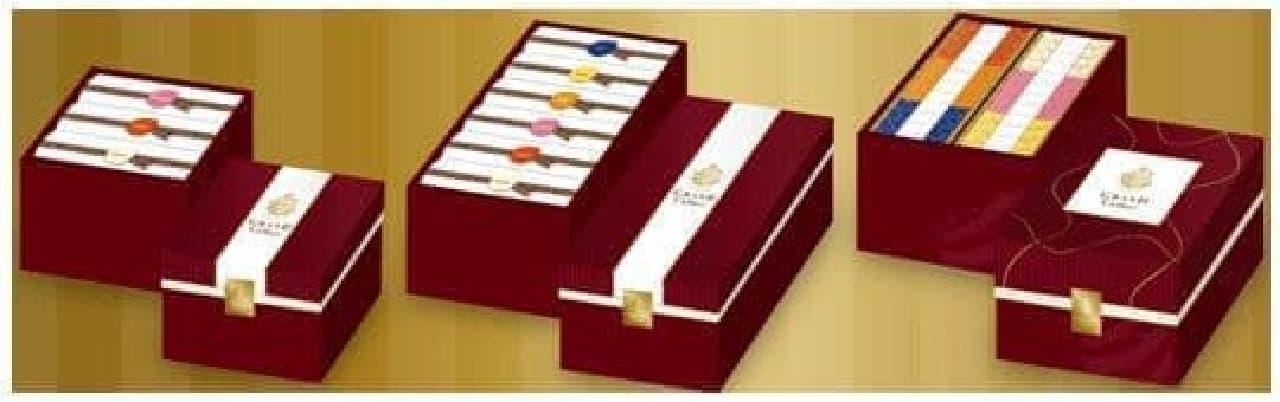 ギフトボックス、左から3種セット、6種セット、24種セット(出典:カルビー)