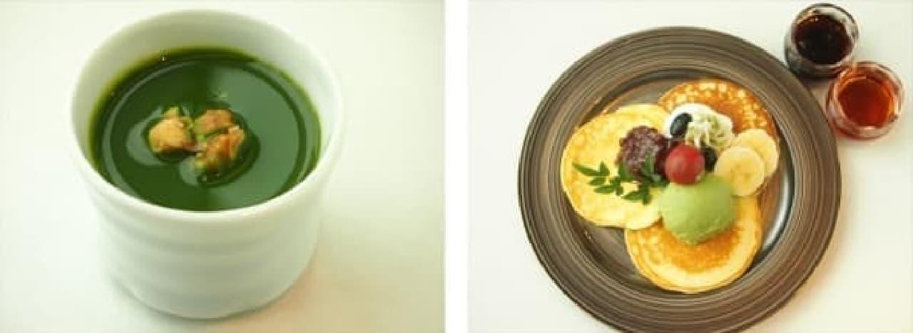 抹茶プリン(左)と米粉のパンケーキ(右)
