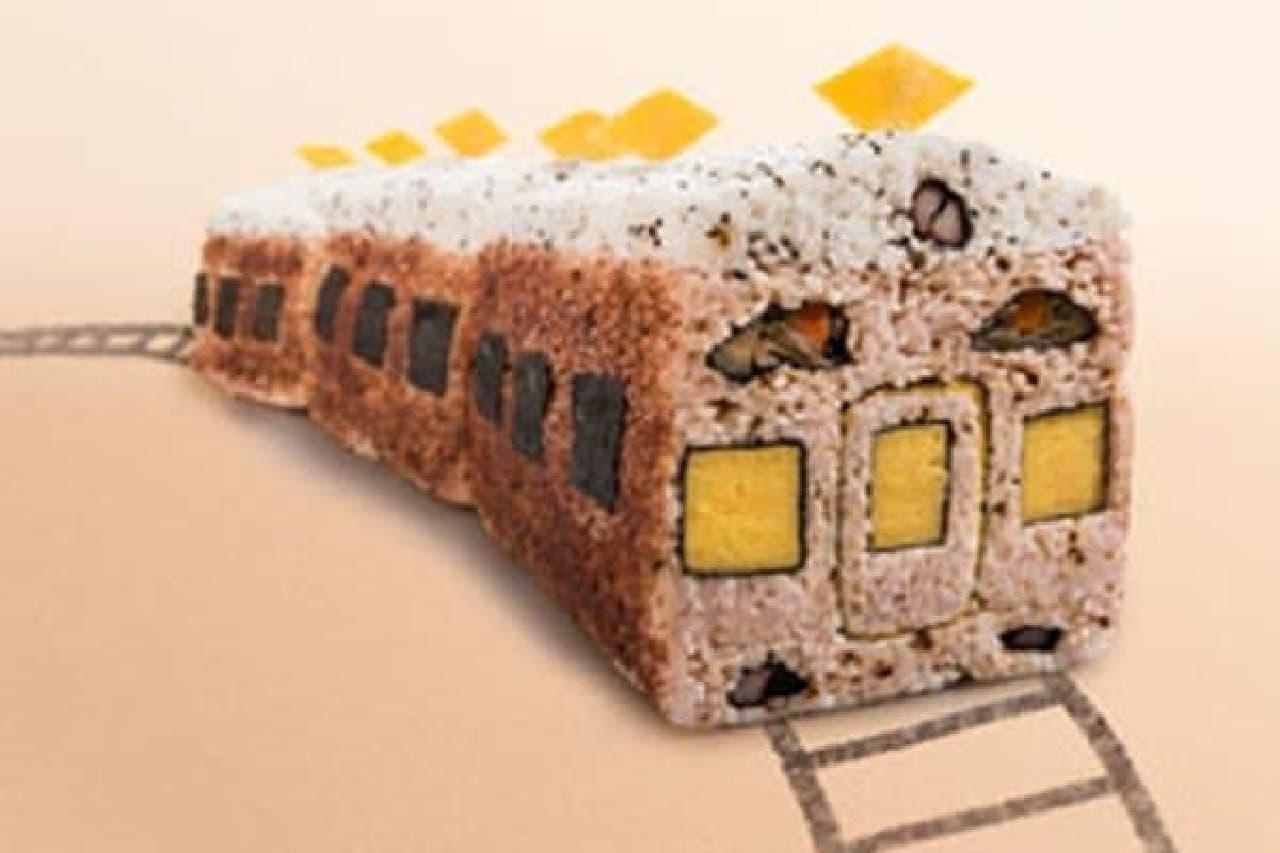 阪急電車を模した「阪急電車寿司」。あずき色も再現している…?