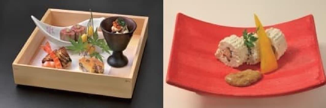 <肉>八寸(左)、へしこ豆腐(右)