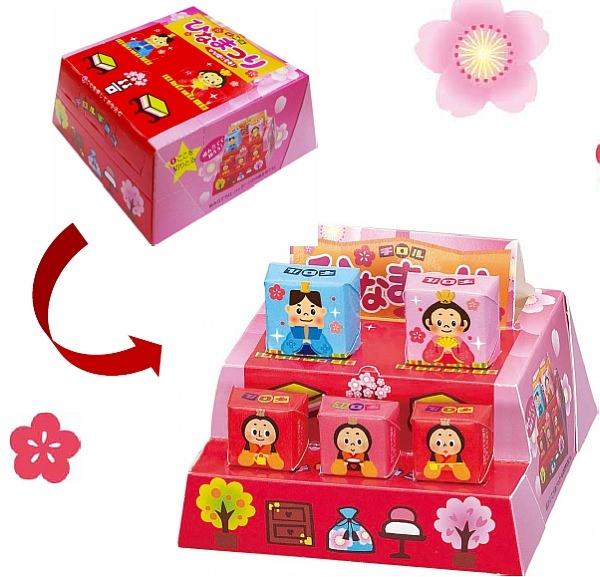 パッケージを組み立てるとひな壇に  組み立て方は、チロルチョコの Web サイトで1月28日公開予定