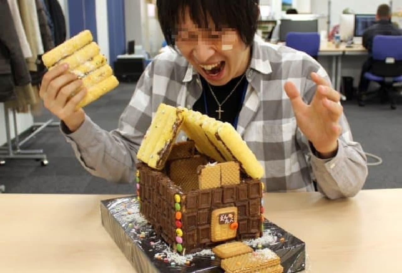 お菓子の家は、このあとスタッフ全員でおいしくいただきました