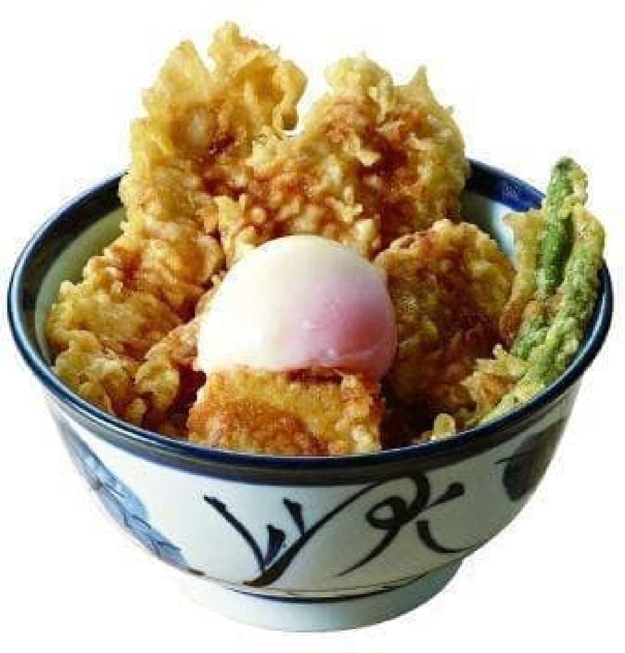 ふもと赤鶏天丼(半熟玉子つき)