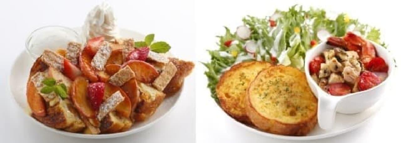 福岡店限定「アップルパイ」(左)、「海老とチキンのアヒージョ」(右)