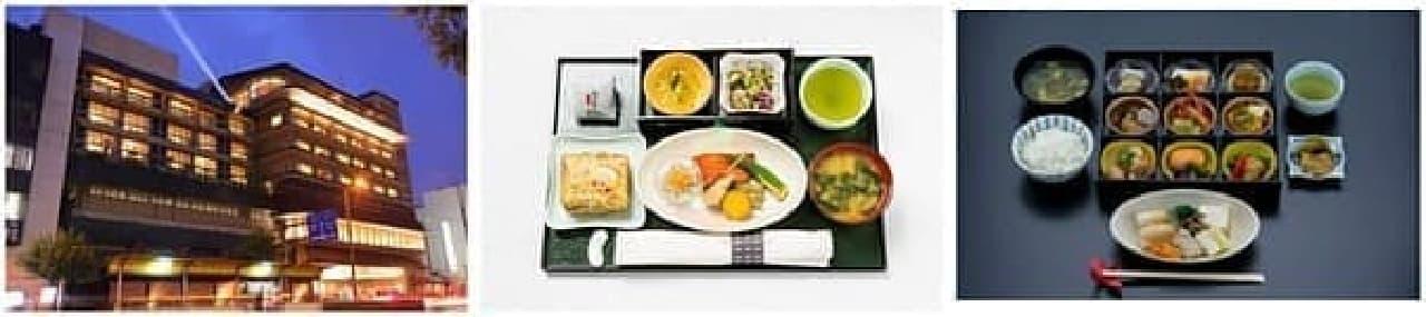 左が「城西館」、中央が郷土料理機内食のイメージ、右が高知御膳のイメージ