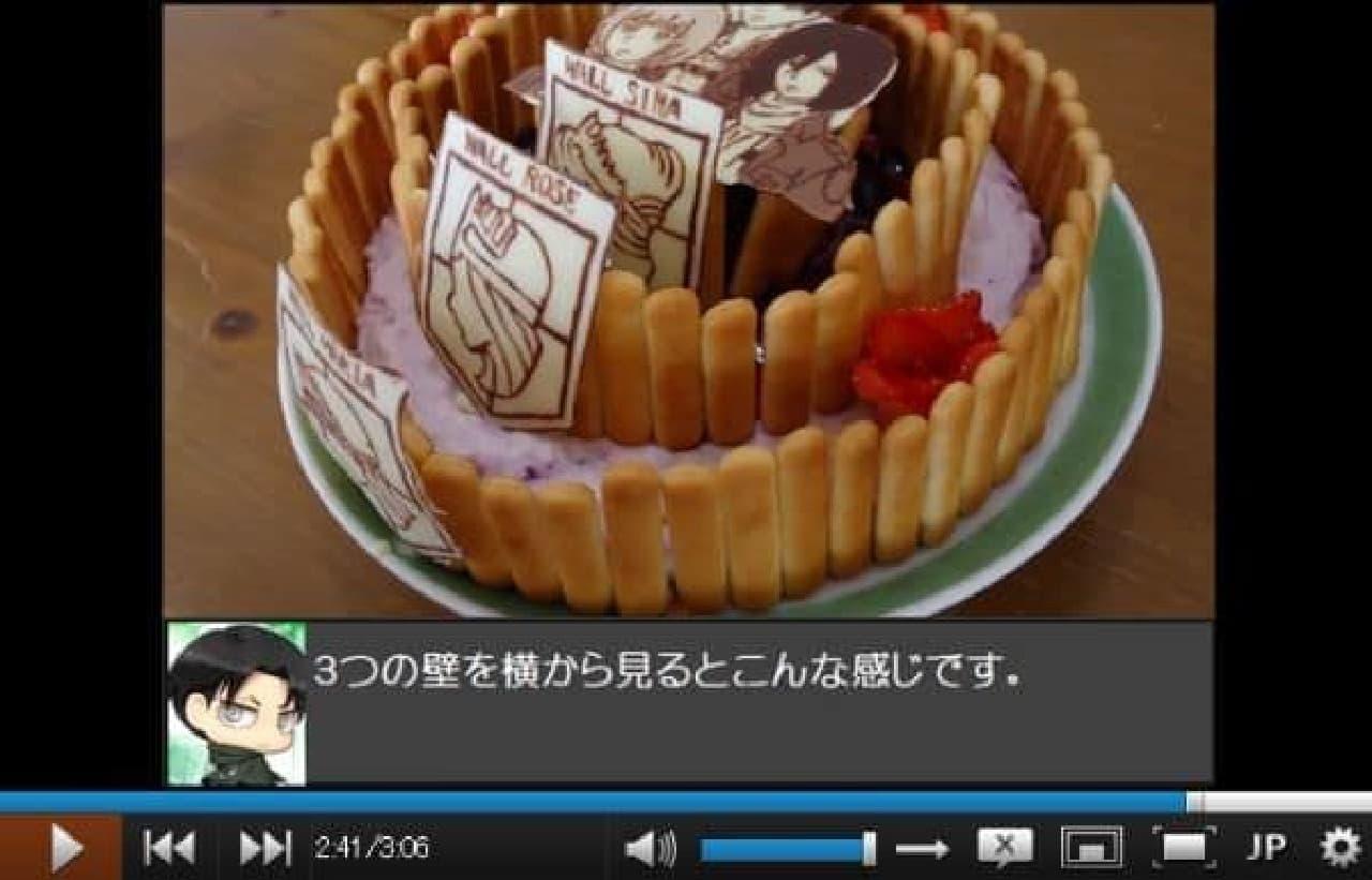3重の壁に囲まれたケーキ