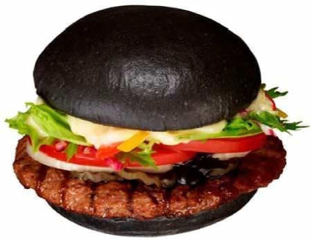 9月28日発売「黒バーガー」、野菜が鮮やかに見える