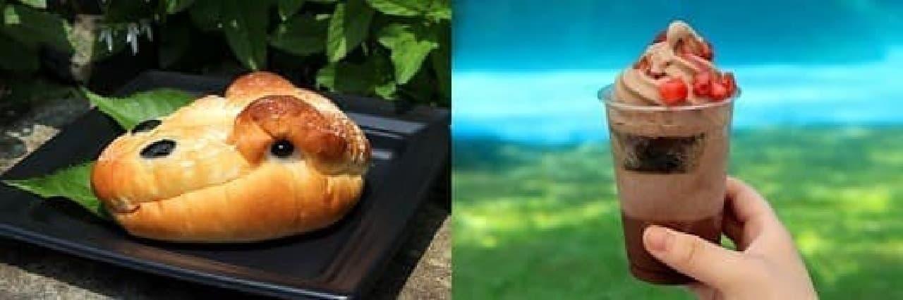 なかなかリアルな「恐竜パン」(左)と  化石に見立てたナッツが入った「発掘パフェ」(右)