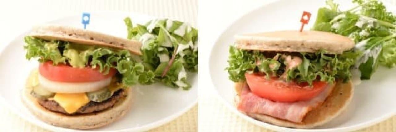 お食事パンケーキも充実!「宮崎和牛バーガー」(左)と  「鹿児島県産厚切りベーコン使用 BLT バーガー」(右)