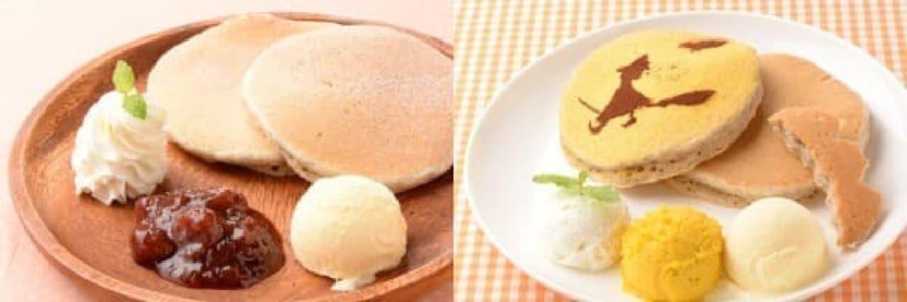 スイーツフォレスト限定「選べる7種のジャムのパンケーキ」(左)と  ハロウィン限定「宮崎カボチャのハロウィンパンケーキ」(右)