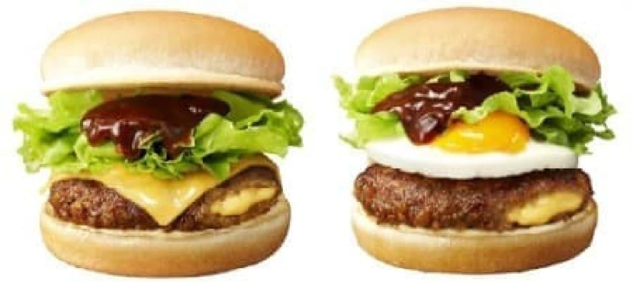 チーズづくしの「チーズイン&アウト肉厚ハンバーガー」(左)、  とろとろプリプリ卵の「チーズイン&エッグ肉厚ハンバーガー」(右)