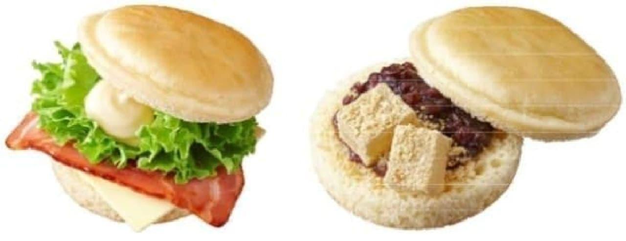 左:「ベーコン&チーズサンド(パンケーキ風)」  右:「あずき&わらびもちサンド(パンケーキ風)」