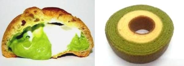 抹茶シュークリーム(左)、抹茶ミルクバウム(右)