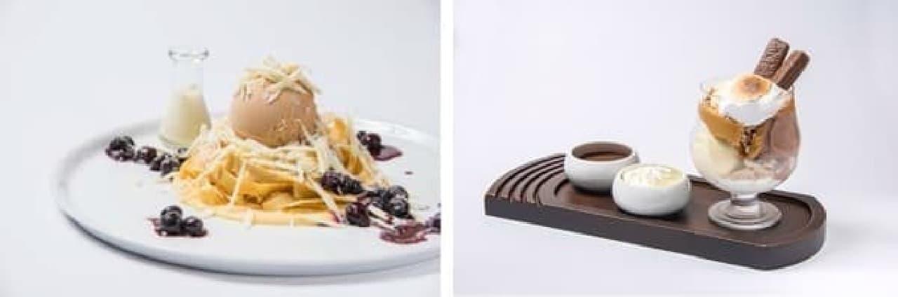 「ホワイト チョコレートレモンクレープパスタ」(左)と  「メルティングスモアサンデー」(右)
