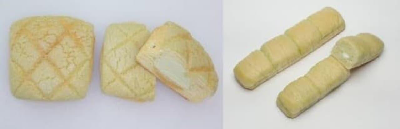 メロンホイップデニッシュ(左)、ちぎれるメロンクリームパン(右)