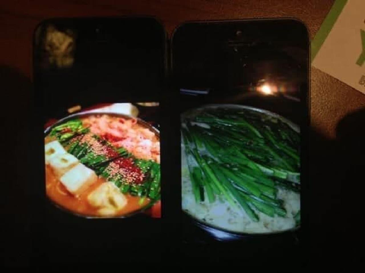 上手な写真(左)と比較、同じ食べ物とは思えない…