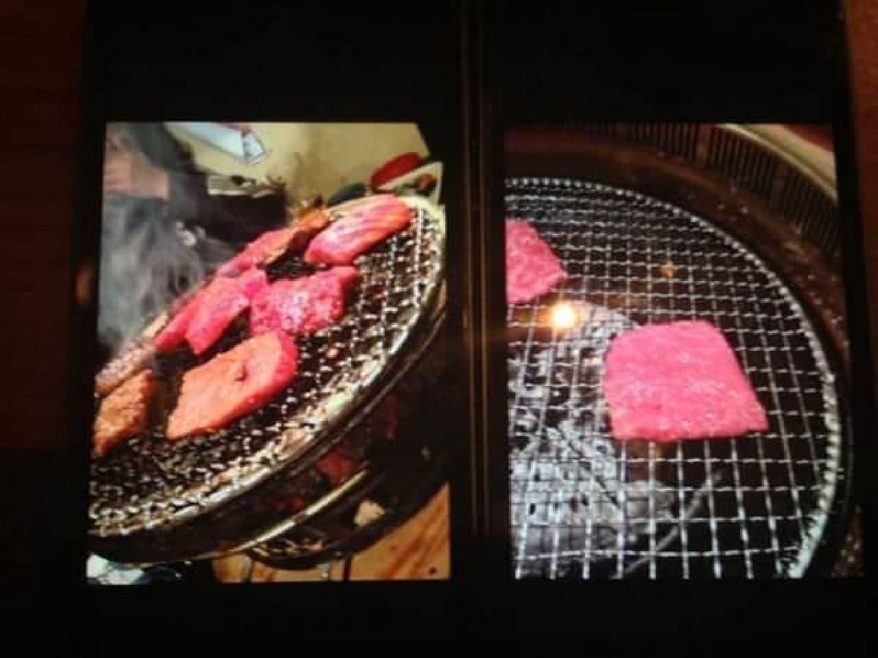 右:肉1枚半を収める謎の構図
