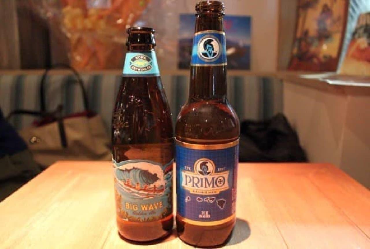 ビッグウェーブ(左)と、ハワイで人気のプリモビール(右)