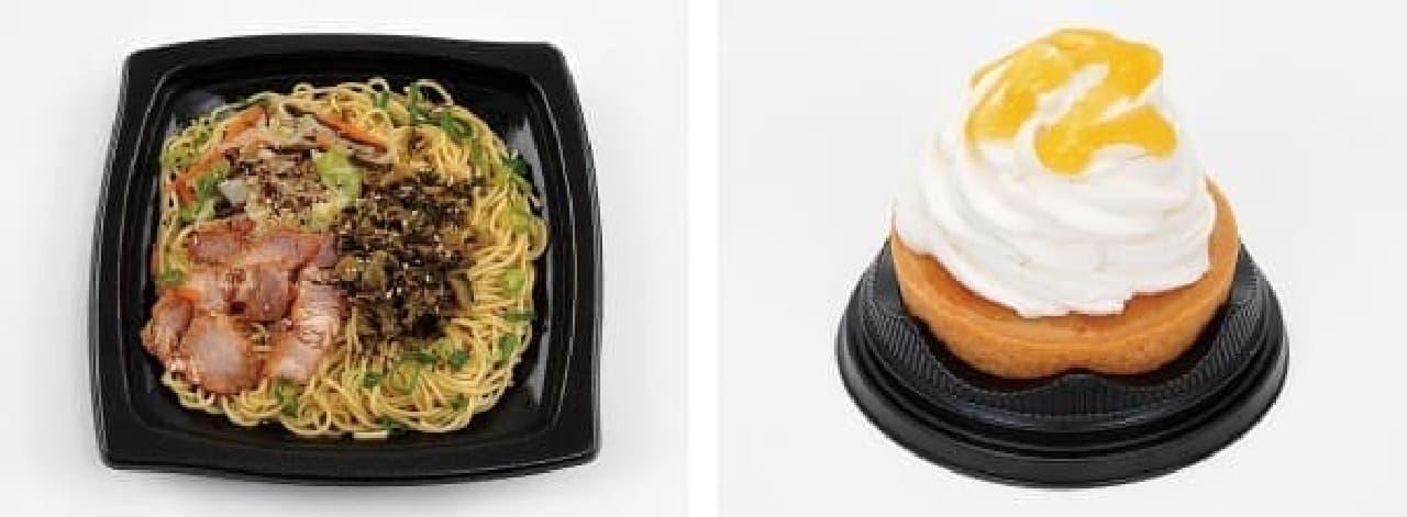 「阿蘇高菜の焼ラーメン」(左)、「しらぬいチーズタルト」(右)