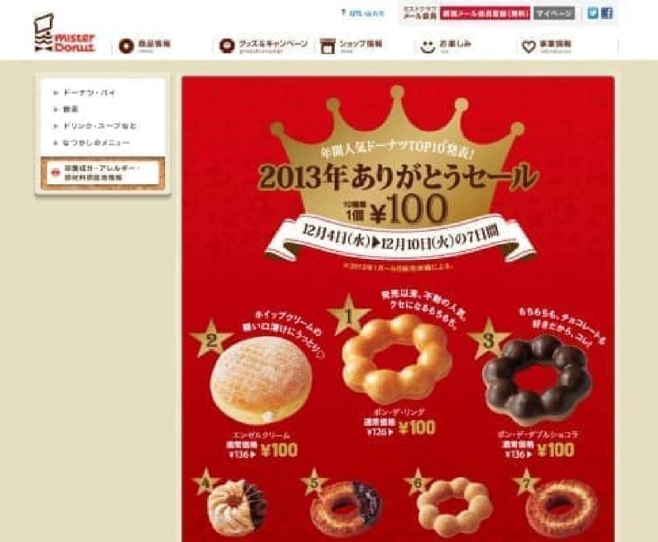 2013年の人気商品がどどーんと100円に!  (出典:ミスタードーナツ)