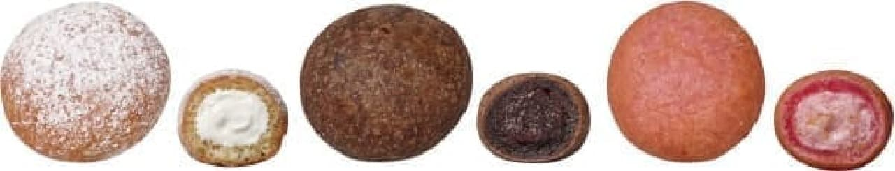 左から、「エンゼルボール」「チョコ」「いちご」