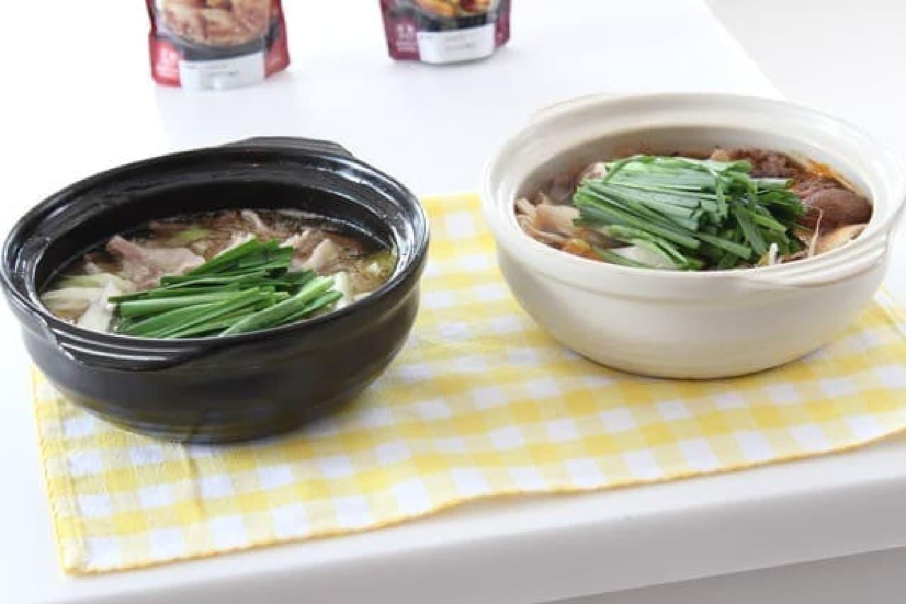 完成した「サムギョプサル鍋」(左)と「ユッケジャン鍋」(右)