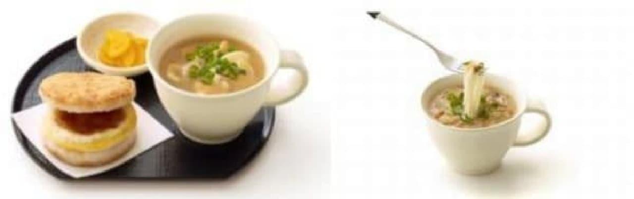 ライスバーガー 朝御膳(左)、  モスの朝麺 温麺 生姜と醤油糀スープ(右)