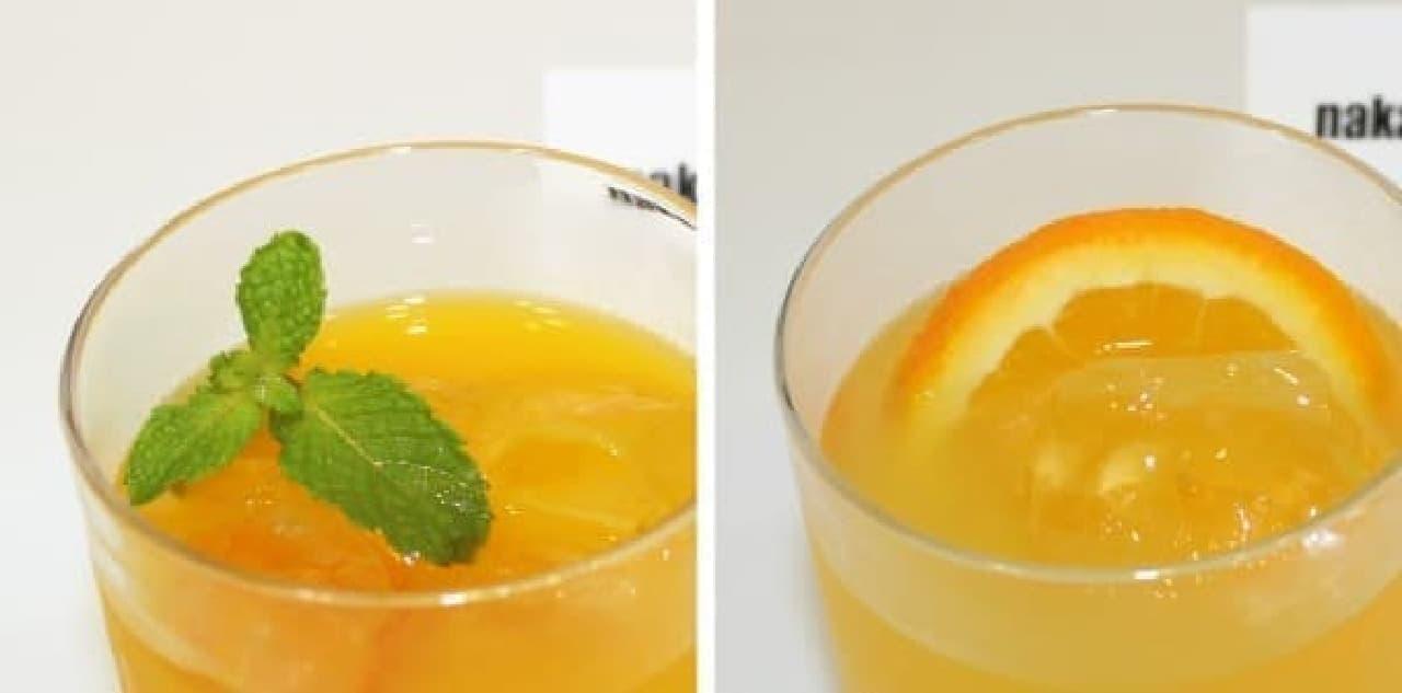 焼酎×マンゴー(左)と日本酒×オレンジ、どっちにする?