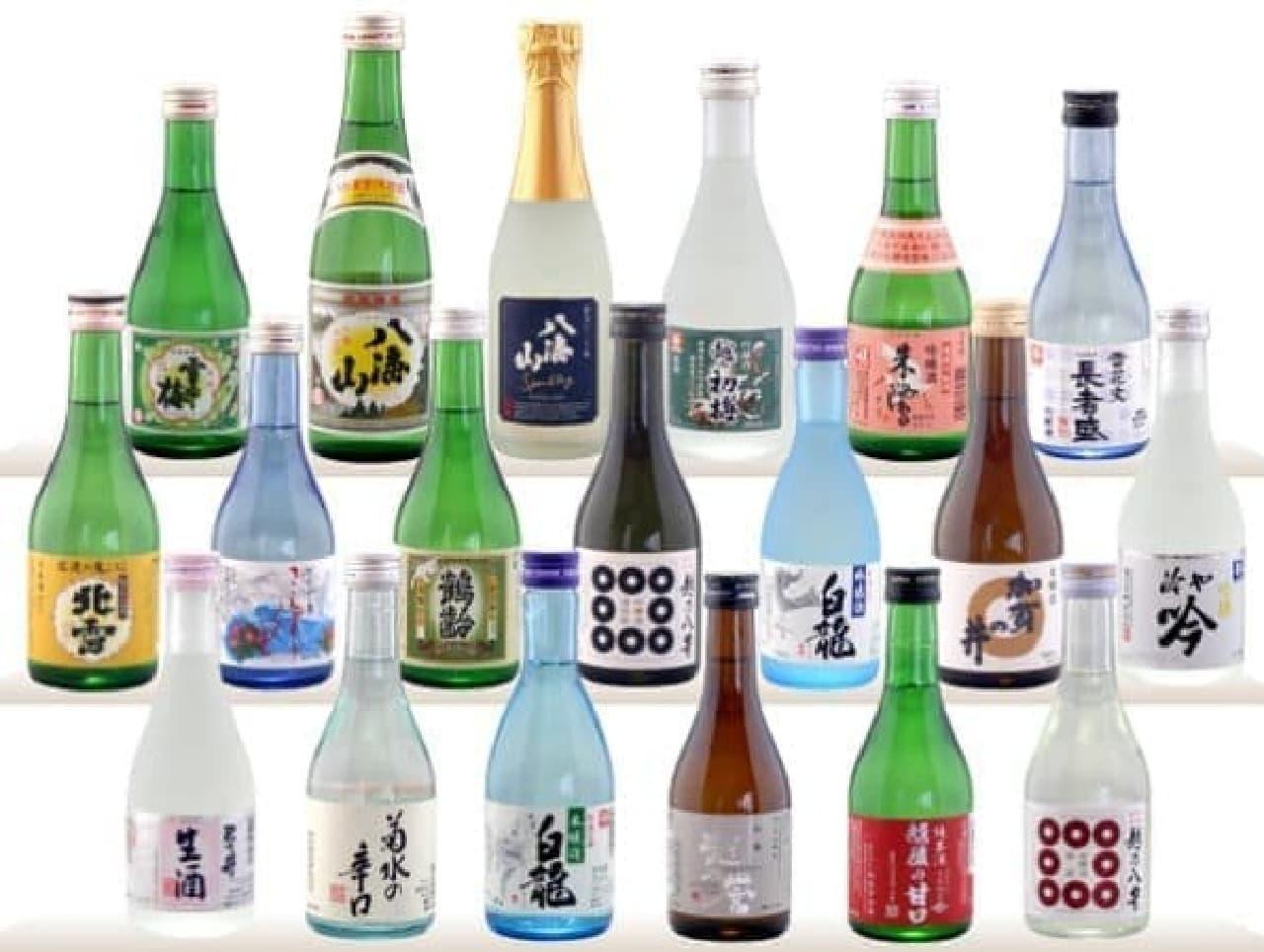 新潟の日本酒4種が届く  (出典:まさか!酒店)