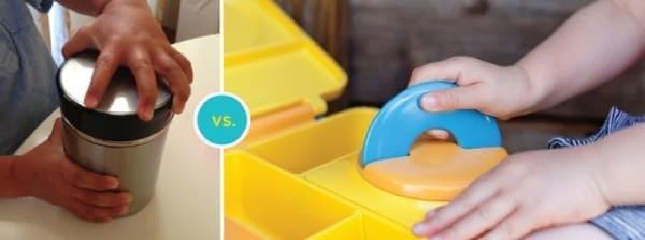 OmieBox(右)なら子どもでも簡単に開けられる