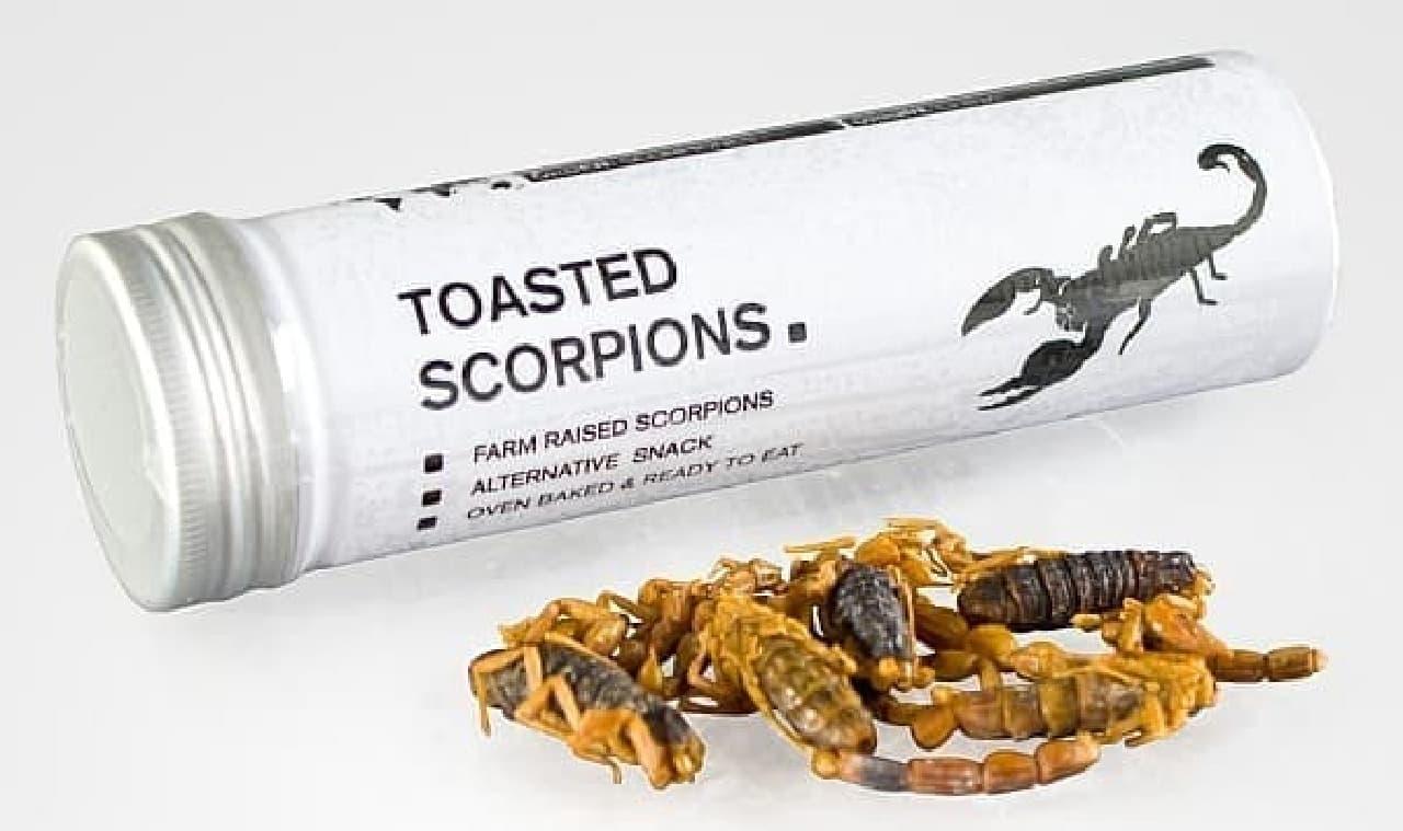 5匹入りのさそりのカンヅメ「Toasted Scorpions(焼きさそり)」