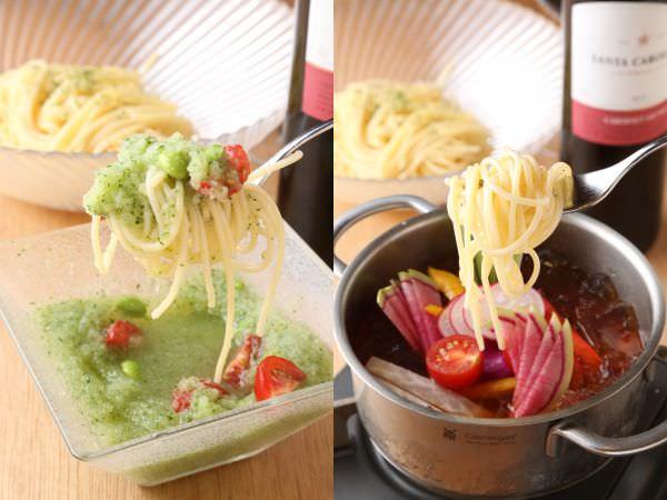 夏野菜のおろしパスタフォンデュ(左)、彩り夏野菜のジュレパスタフォンデュ(右)