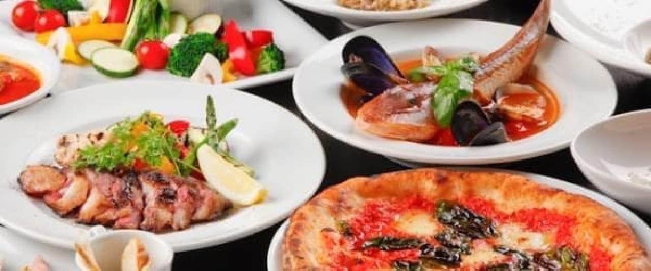 伝統あるナポリピッツァとシーフードを楽しんで