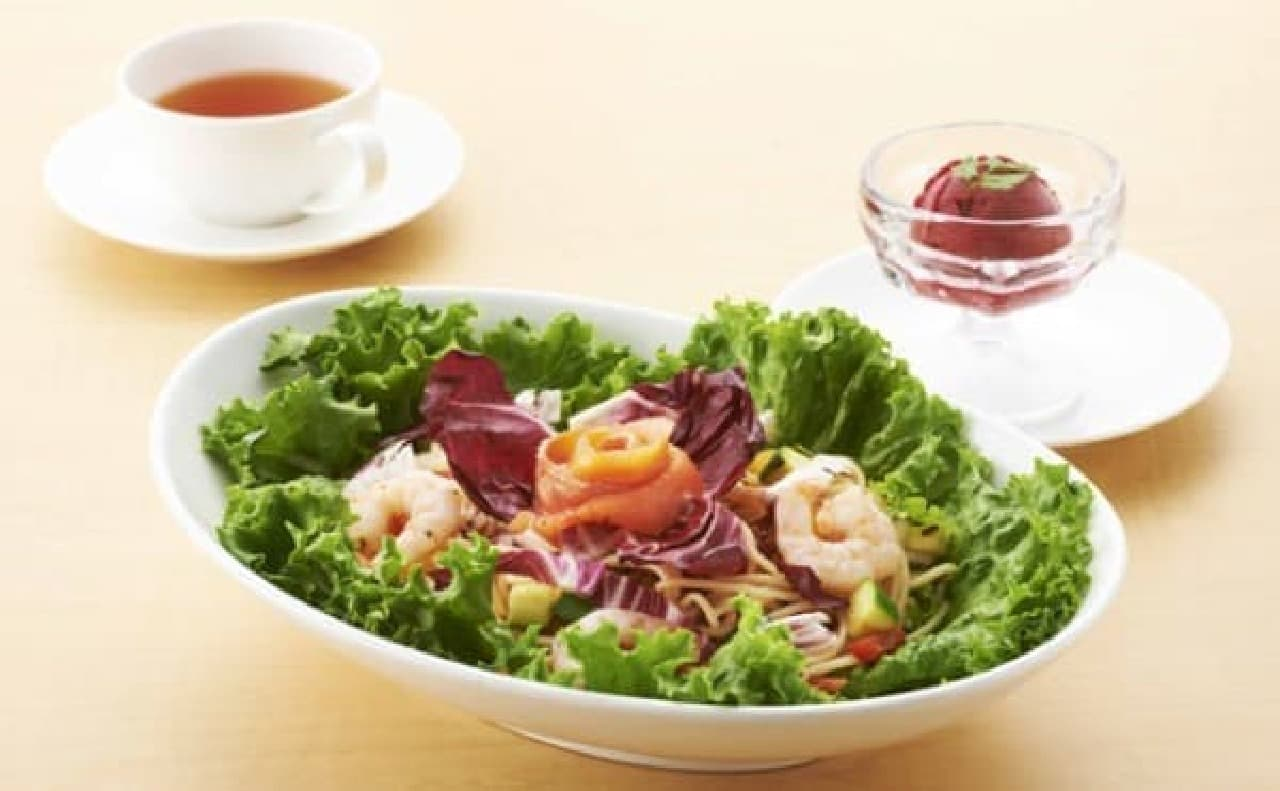 「ガラスの仮面風 夏野菜の冷製スパゲティセット」