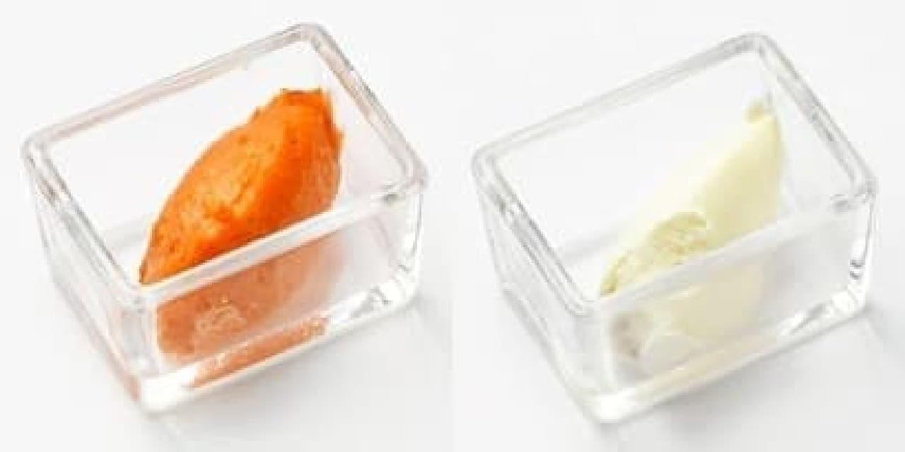 サーモンムース(左)とクリームチーズ(右)