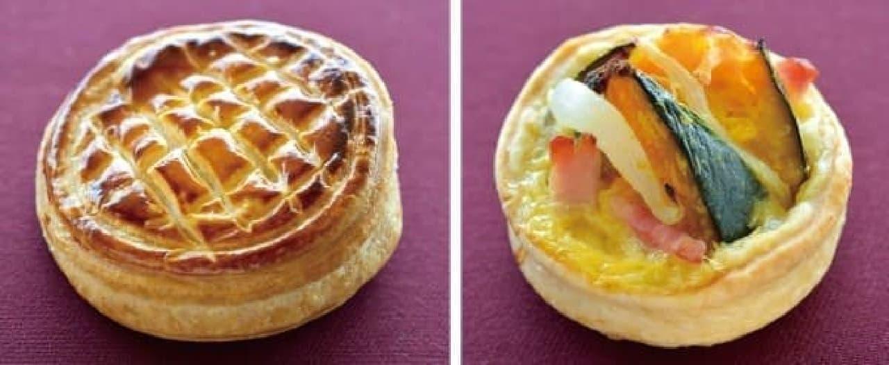 左:パンプキンパイ  右:かぼちゃのキッシュ