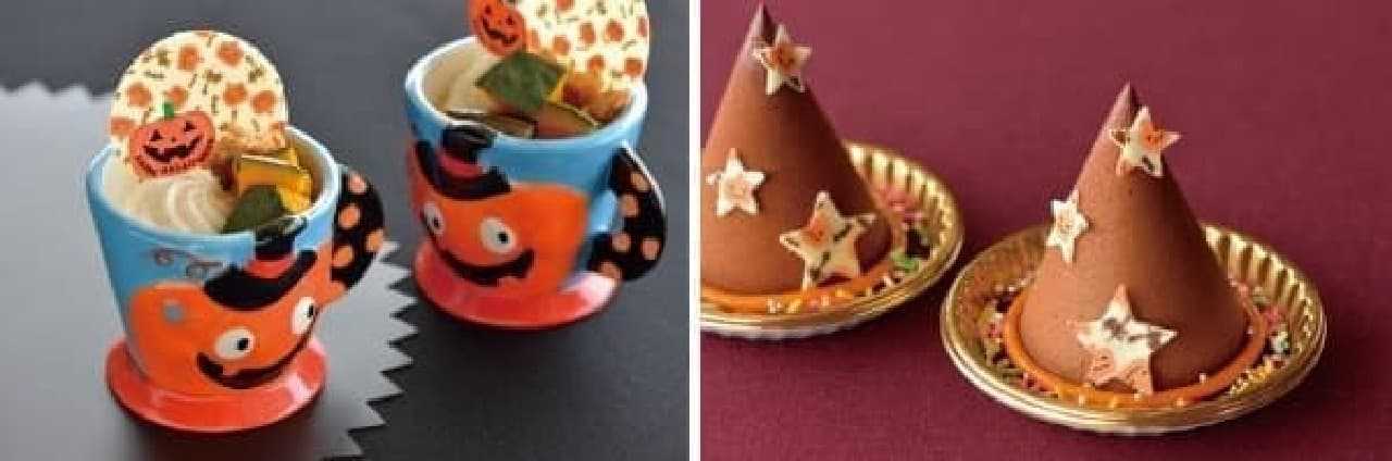 左:ハロウィーンプリン  右:魔女の帽子のチョコレートケーキ