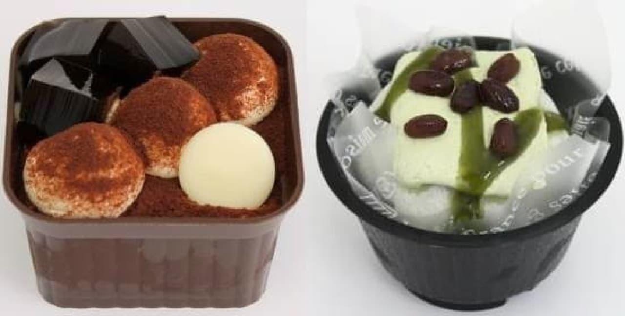 プチドルモカくり~む(左)、もともち食感の抹茶パフェ(右)