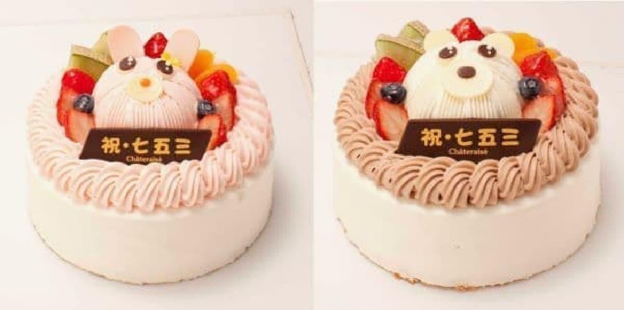 うさぎとくまの可愛らしいホールケーキ