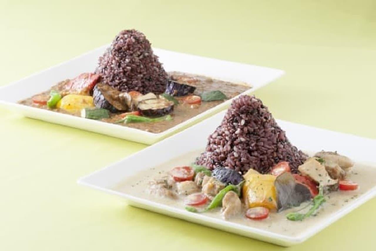 富士河口湖町産古代米を使用したカレー2種