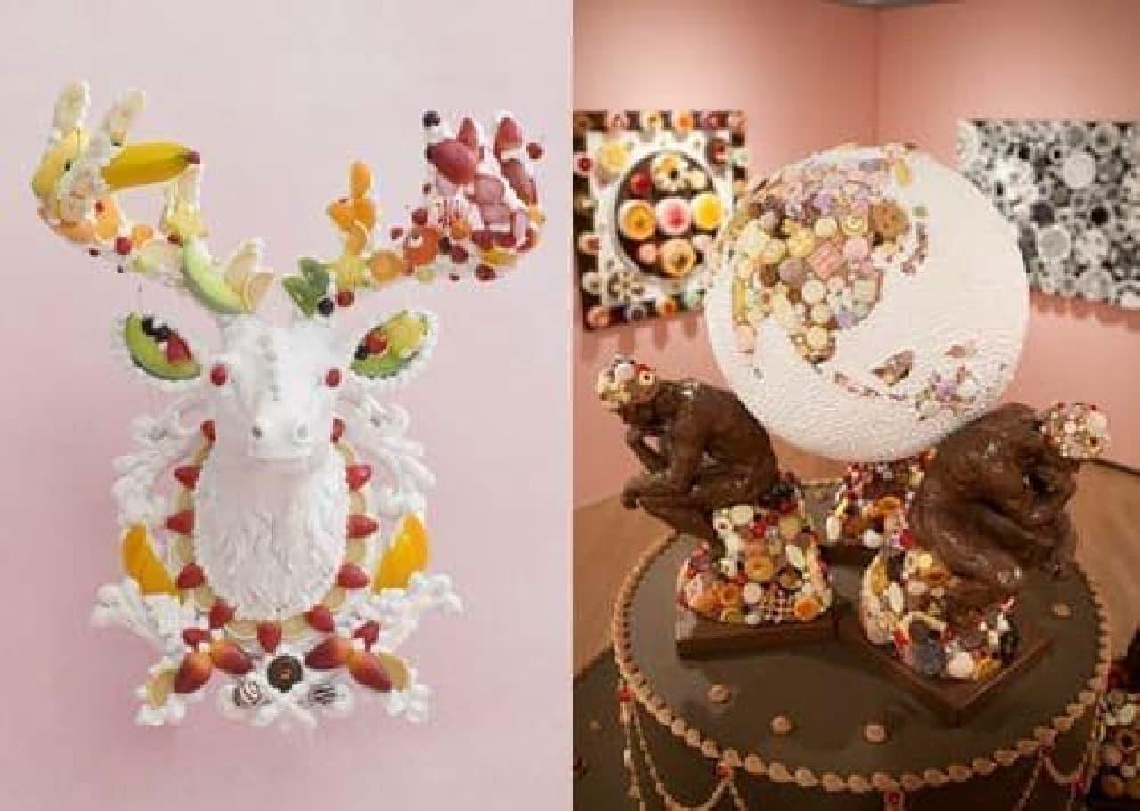 渡辺氏の作品例  (左)「Heavenly messenger 2012」/(右)「ATLAS 2012」