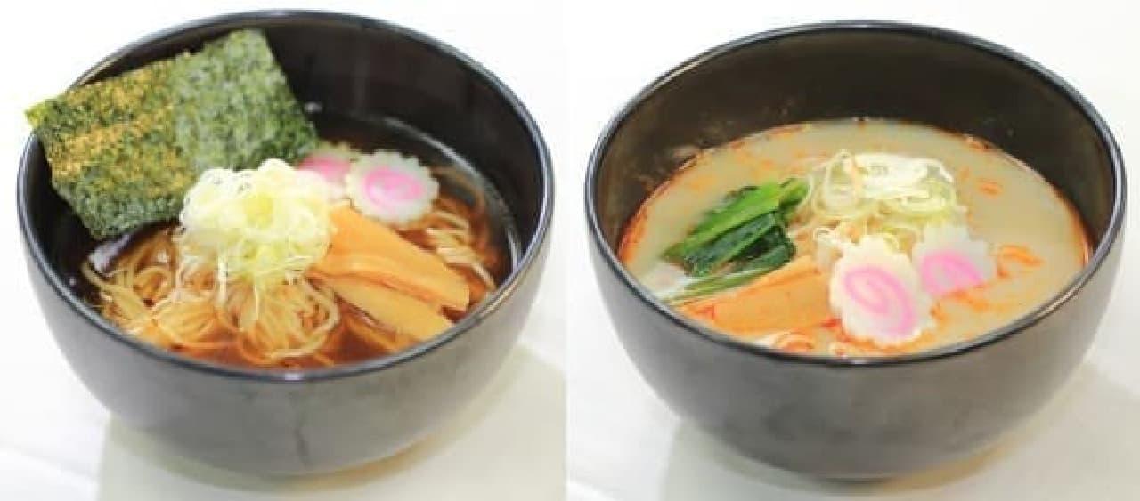 東京ラーメン(左)、トムヤムとんこつラーメン(右)