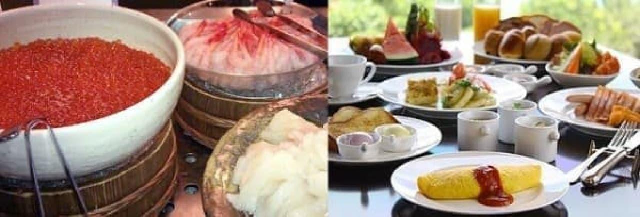 「ラビスタ函館ベイ」ネタ乗せ放題の海鮮丼(左)と  「ヨミタンリゾート沖縄」ふわふわオムレツなど(右)