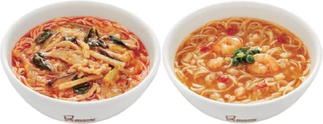 酸辣湯麺(左)、海老湯麺