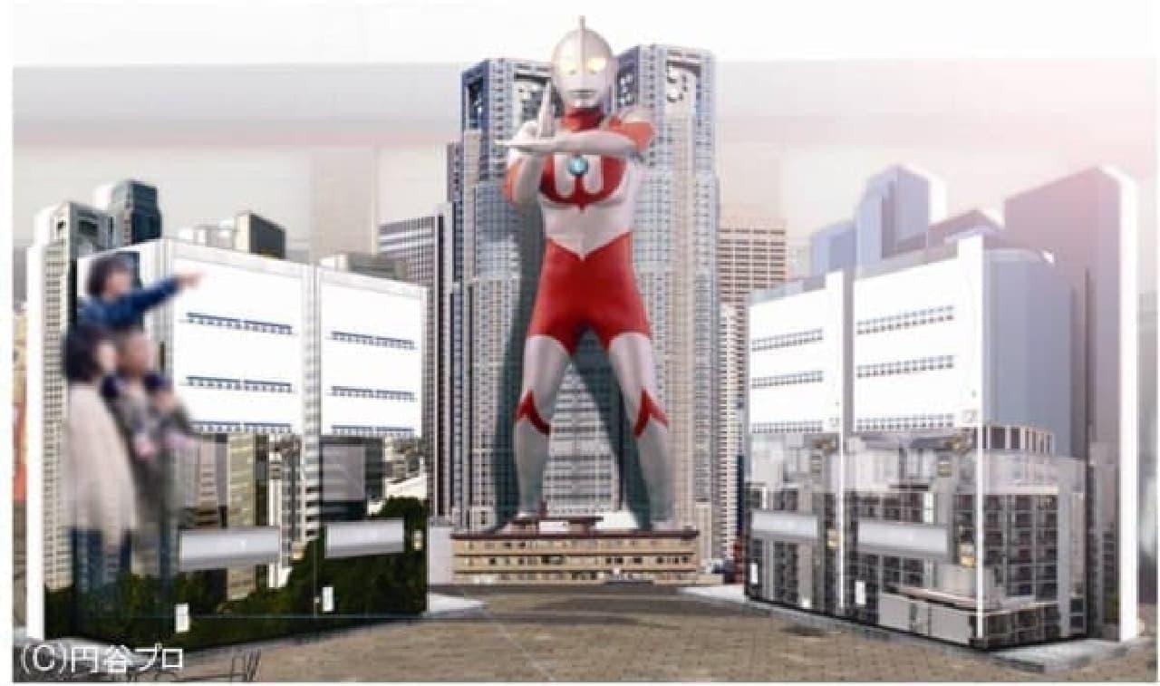 巨大ウルトラマンが、高坂 SA に登場!胸も目も光るぞ