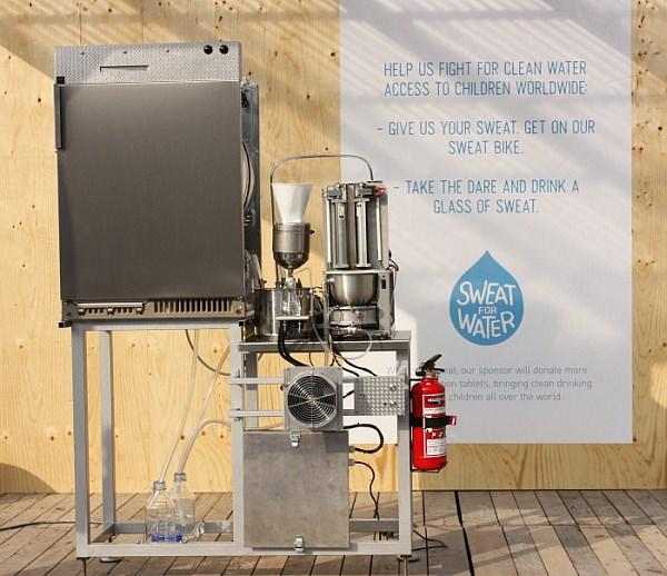 衣服から汗を抽出し、飲料水に変換する「Sweat Machine(汗マシン)」