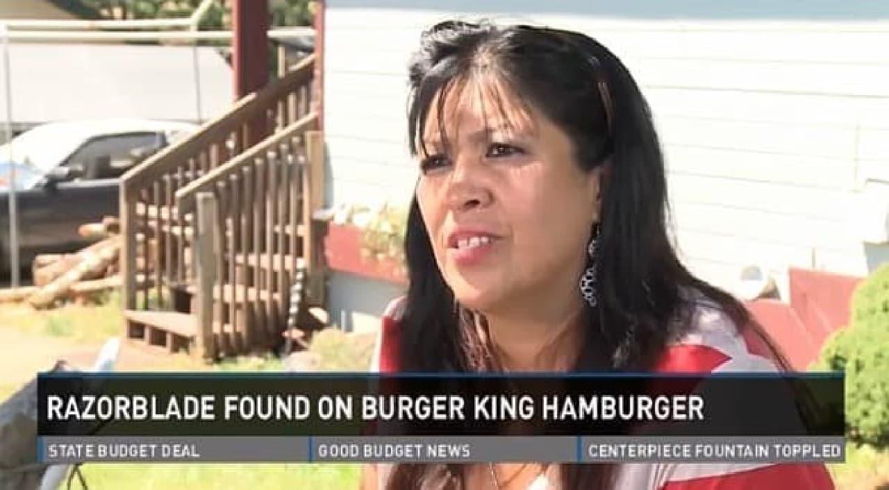 ハンバーガーの中にカミソリの刃を発見した Yolanda Orozco さん(出典:News10 ABC )